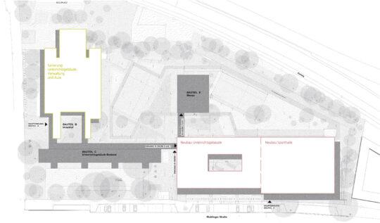Die Baumaßnahmen im Gesamtüberblick auf Lageplan – Gymnasium Humboldtschule, Hannover